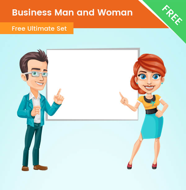 Business Man and Woman Cartoon