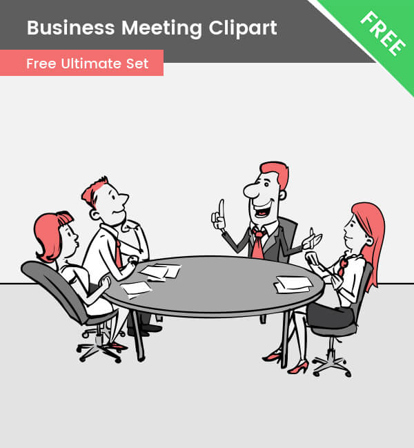 Business Meeting Clipart, office, team, teamwork, drawing, cartoon, illustration