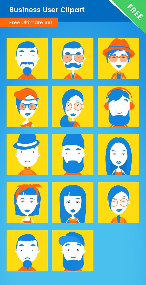 Business User Clipart business icons business avatars businessman businesswoman modern design square user icons modern user icons