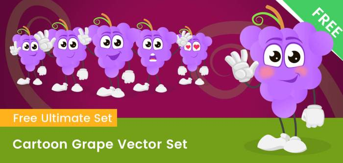 Cartoon Grape Vector Set