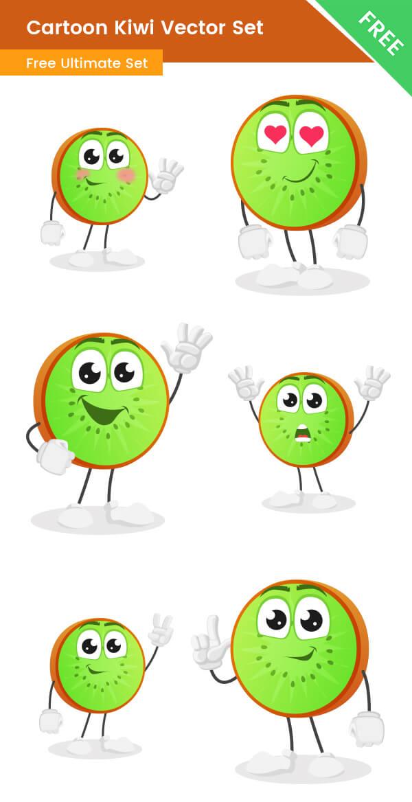 Cartoon Kiwi Vector Set