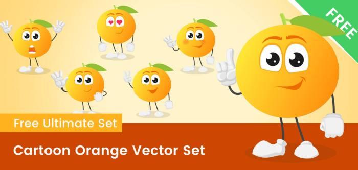 Cartoon Orange Vector Set