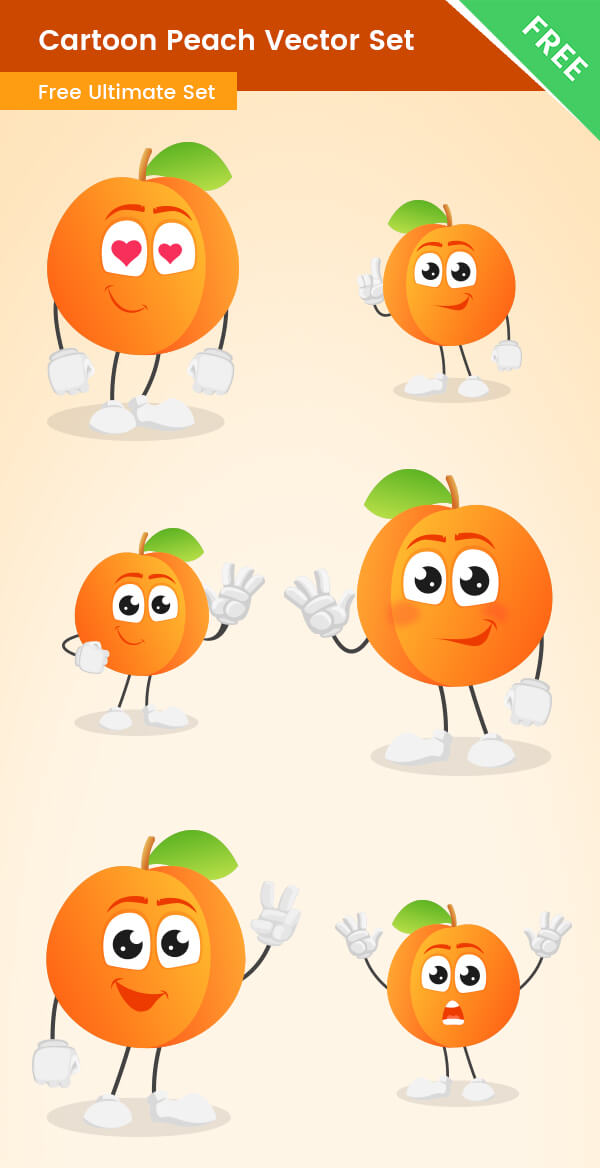 Cartoon Peach Vector Set