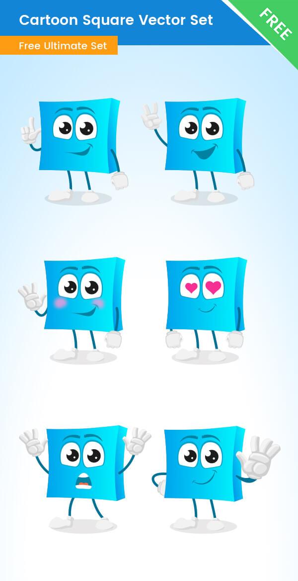 Cartoon Square Vector Set