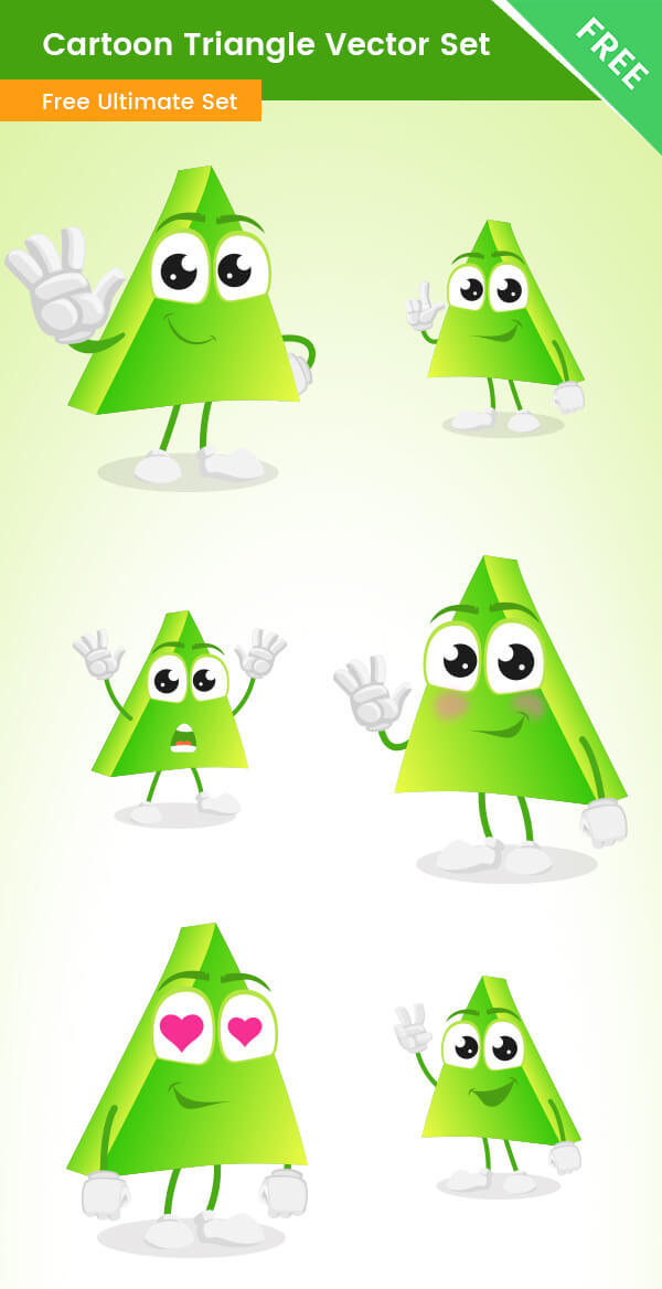 Cartoon Triangle Vector Set Free