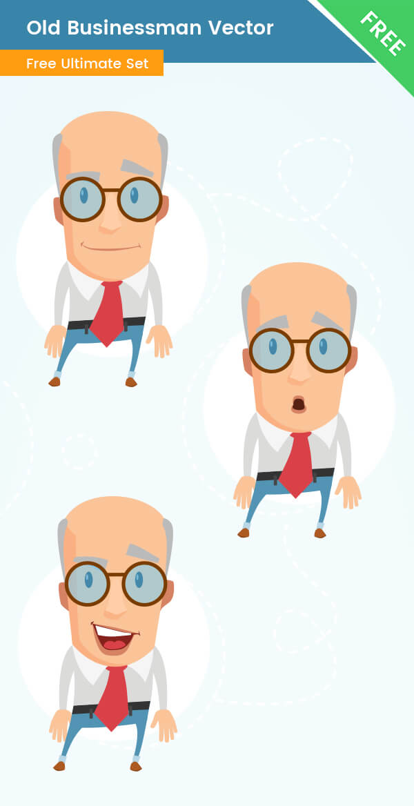 Old Businessman Vector