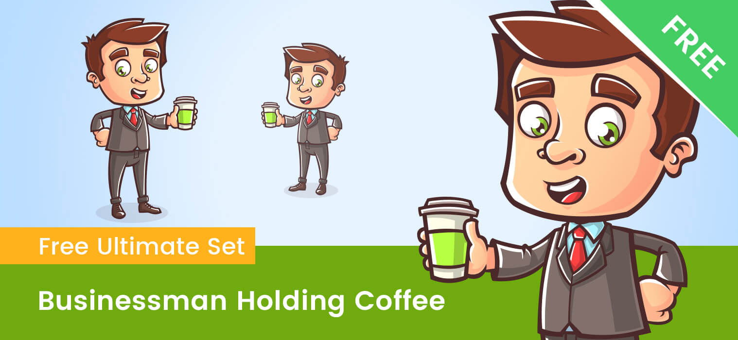 Business Cartoon Character Holding a Coffee
