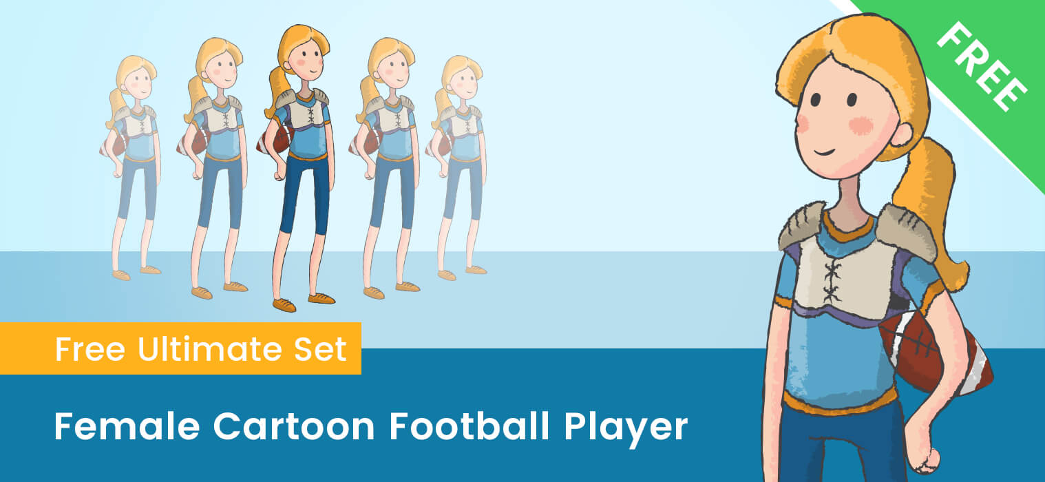Female Cartoon Football Player