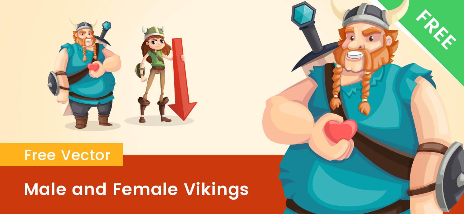 Male and Female Viking Cartoon Characters
