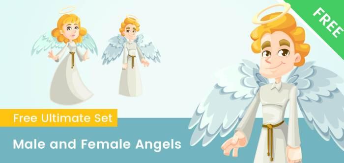 Male and Female Cartoon Angel Characters