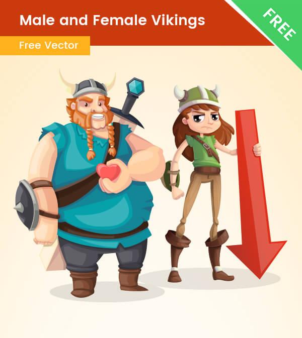free Male and Female Viking Cartoon Characters
