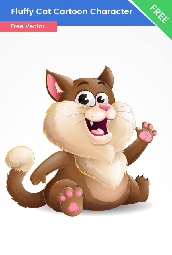 Free Fluffy Cat  Vector Character