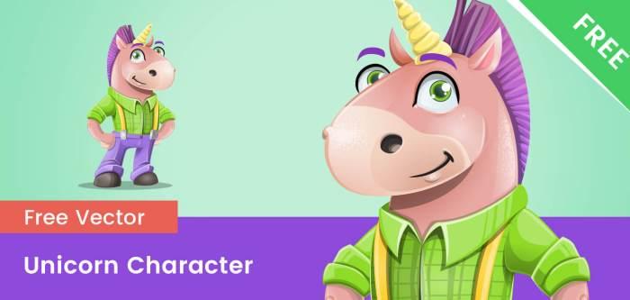 Free Fun Unicorn Vector Character