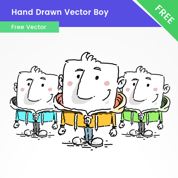 Free Hand Drawn Boy Cartoon Character