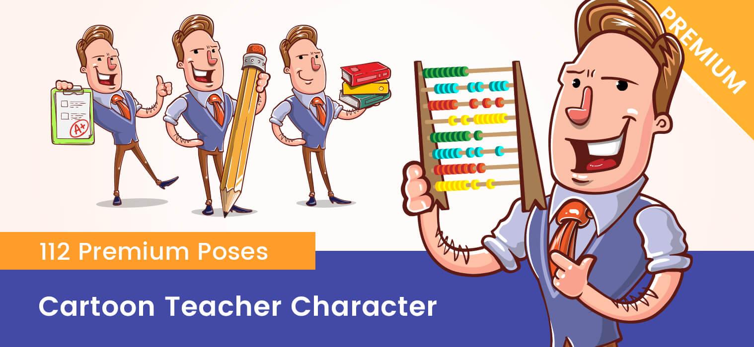 Cartoon Teacher Vector Character Set