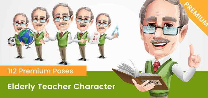 Elderly Teacher with Moustache Cartoon Character