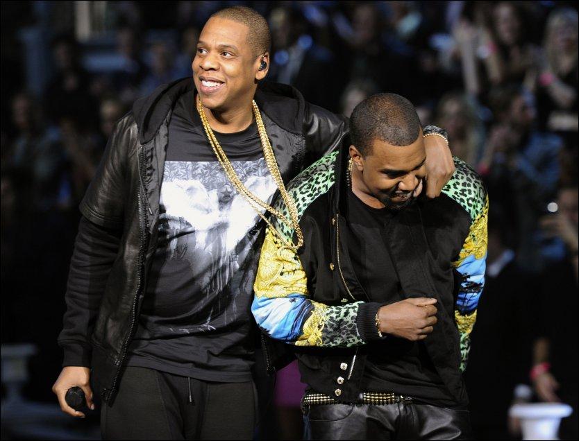 SUPERDUO: Jay-Z og Kanye West kommer til Norge 28. mai. Her fra deres opptreden på Victoria Secrets undertøysshow i fjor. Foto: AFP PHOTO
