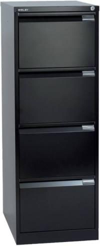 Bisley steel Filing Cabinet Foolscap 4 Black   Viking ...