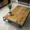 Industrial pallet coffee table lettering