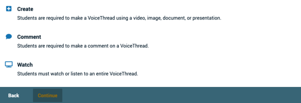 new interface for the three VoiceThread Assignment types