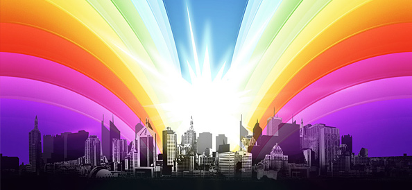 Urban City View with Shining Rainbow