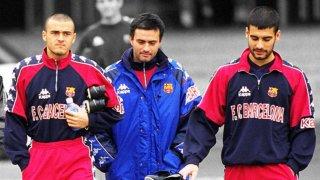 Моуриньо с Луис Енрике и Пеп Гуардиола през годините му в Барса