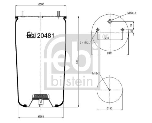 Soufflet à air, suspension pneumatique pour CITROËN BX (XB