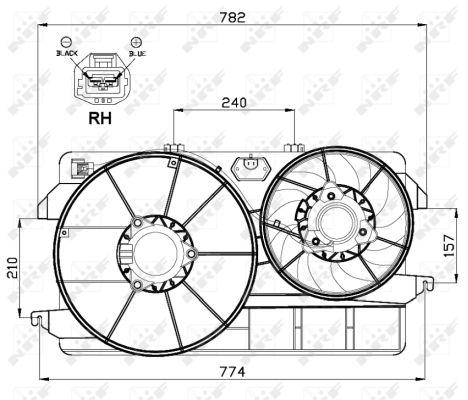 Ventilateur, refroidissement du moteur pour FORD MONDEO II