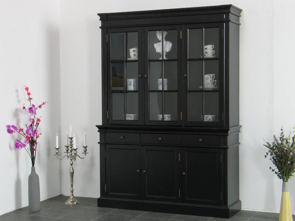 Winkelkast buffetkast vitrine met opzet antiek zwart