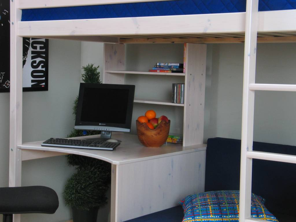 Thuka Hoogslaper wit met bureau bank en kussenset blauw