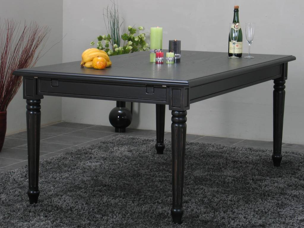 Eetkamertafel Mozart barok tafel zwart incl verlengstuk