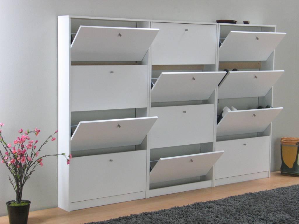 Tvilum Set van 3 schoenenkasten wit mat Escape 225x148x17 cm