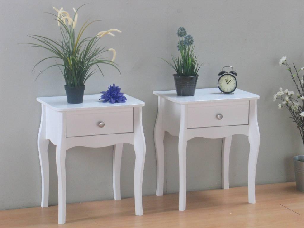 Nachtkastjes wit met lade Baroque set van 2