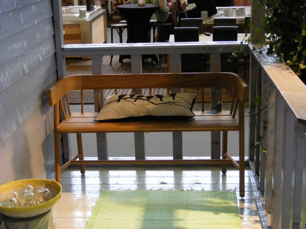 HKliving Bank bruin teak hout 45x123x72cm  wonenmetlefnl