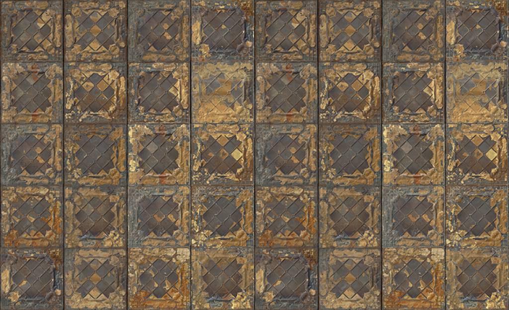NLXLMerci Tegel behang Brooklyn Tins metallic gold Tin08