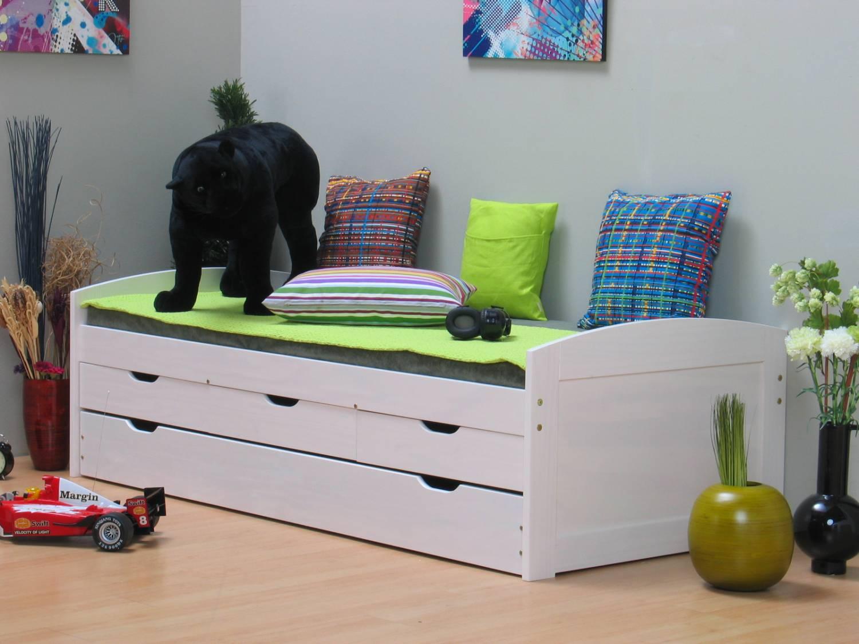 Eenpersoonsbed met laden grenen wit tienerbed