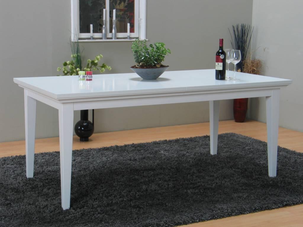 Eetkamer hout wit tafel freya wit onderstel met een blad van oud