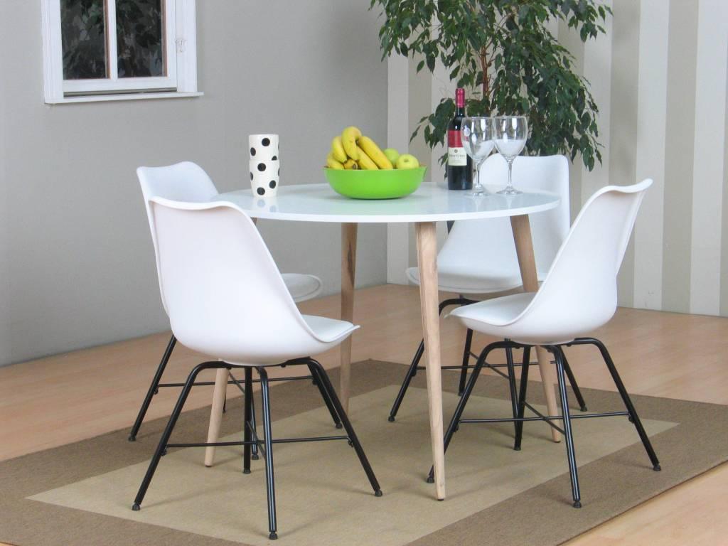 Tvilum Napoli eethoek ronde tafel met 4 witte kuipstoelen