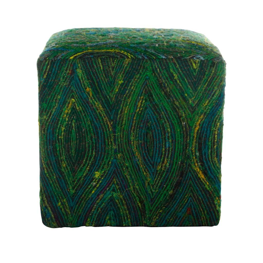 Poef vierkant groen gerecycled zijde op zwart katoen