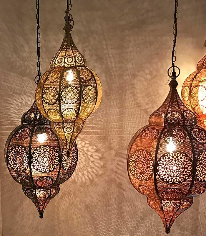 Gouden oosterse hanglamp met super licht effecten echt