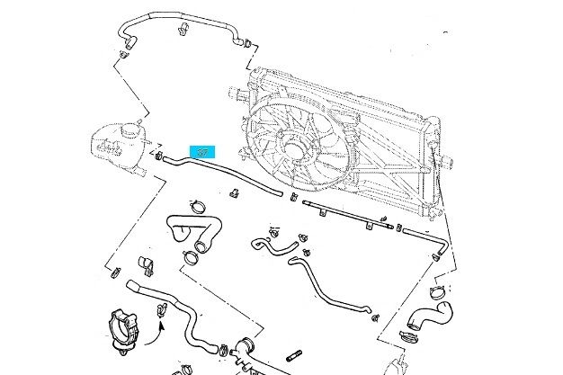 Slang expansietank Opel Astra-G / Zafira-A X20XEV / X20XER