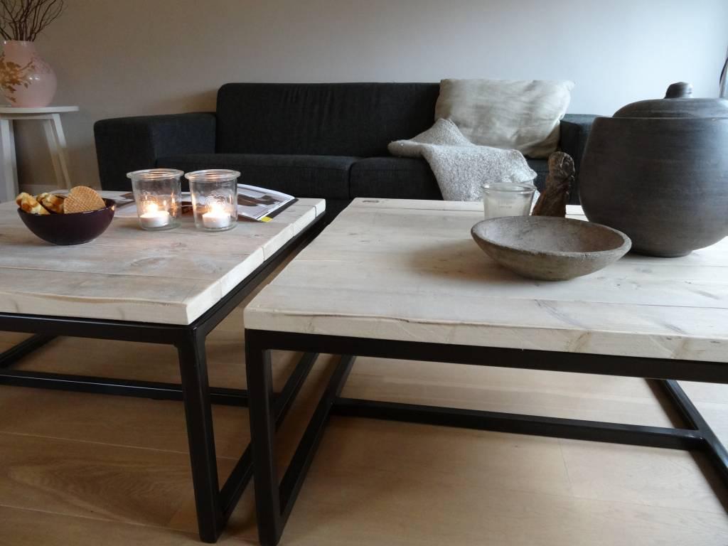 Varberg industriele salontafel steigerhoutstaal open