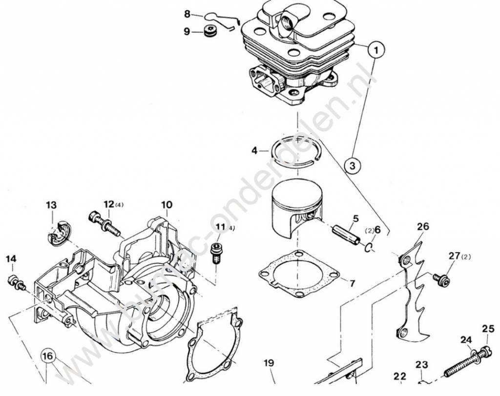 Cilinderpakking voor Dolmar 112, 113, 114 en 116