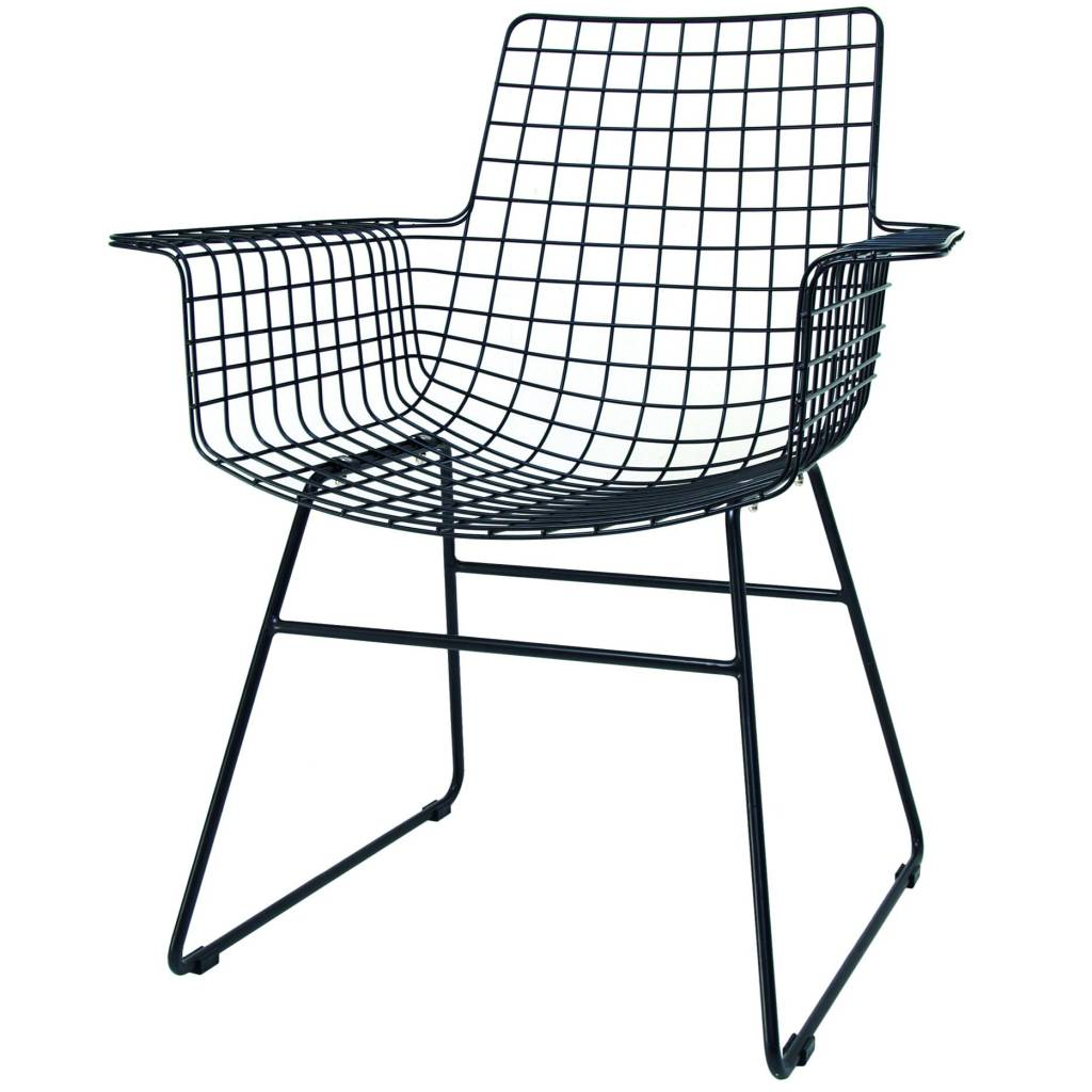 Black Wire Chair Hk Living Wire Chair With Armrests Black Metal 72x56x86cm