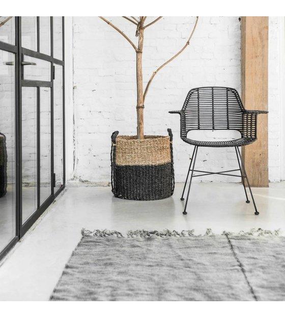 HKliving Chair Rotan black with metal frame 67x55x83cm