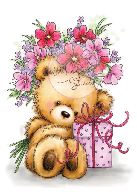 Wild Rose Studios A7 Stamp Set Teddy With Gift Checkout