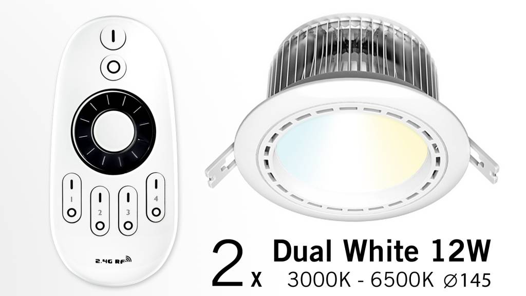 Set of two12 Watt recessed LED downlights + Remote control