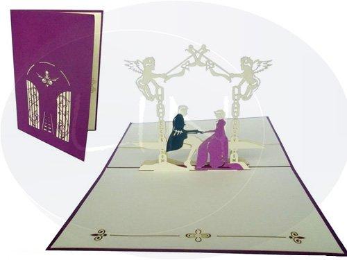 Pop up Hochzeitskarte Brautpaar im Schlossgarten  Pop Up