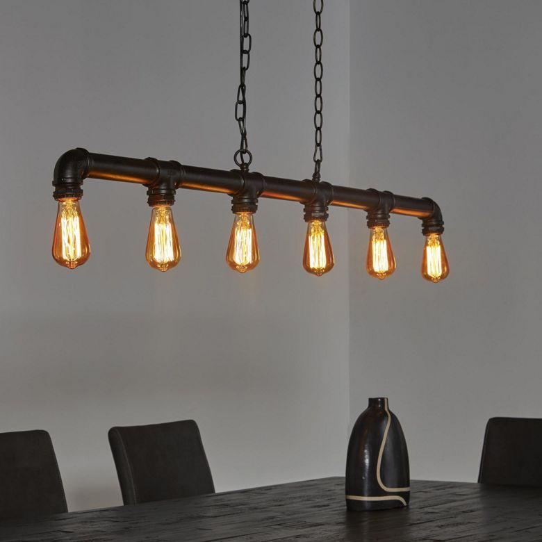 Eettafel hanglamp gemaakt van waterleiding buizen  de