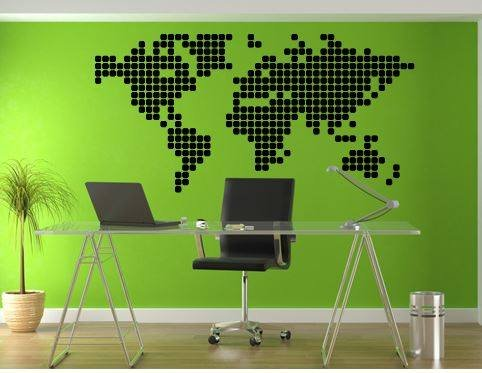 Wall Sticker World Map Blocks  Walldesign56 Wall Decals